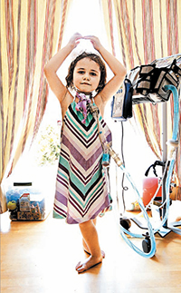 Young girl with medically fragile health condition